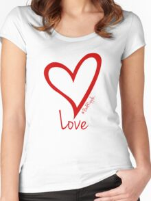LOVE....#BeARipple Red Heart on Pink Women's Fitted Scoop T-Shirt