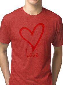 LOVE....#BeARipple Red Heart on Pink Tri-blend T-Shirt