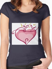 Pink heart Women's Fitted Scoop T-Shirt