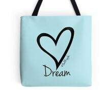 DREAM....#BeARipple Black Heart on Blue Tote Bag