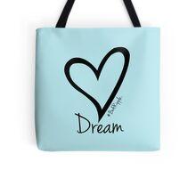 DREAM....#BeARipple Black Heart on Blue Tote Bag