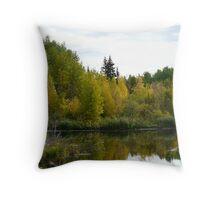 Beaver Pond in Autumn Throw Pillow