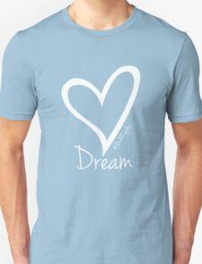DREAM....#BeARipple White Heart on Lavender Unisex T-Shirt