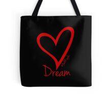 DREAM....#BeARipple Red Heart on Black Tote Bag