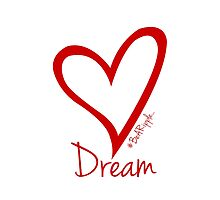 DREAM....#BeARipple Red Heart on White by BeARipple