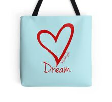 DREAM....#BeARipple Red Heart on Blue Tote Bag