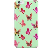 Watercolor butterflies - pink on mint  iPhone Case/Skin