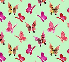 Watercolor butterflies - pink on mint  by Perrin Le Feuvre