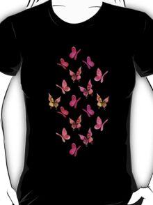 Watercolor butterflies - pink on mint  T-Shirt