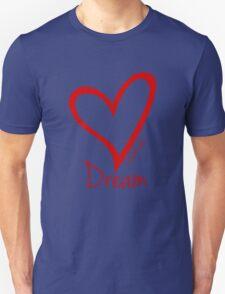 DREAM....#BeARipple Red Heart on Lavender Unisex T-Shirt