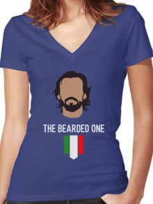 The bearded one - pirlo Women's Fitted V-Neck T-Shirt