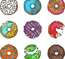 Nine Colourful Delicious Iced Donuts by Rachel  Weaver