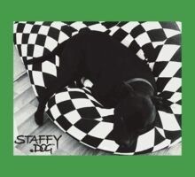 Staffy Dog black on black and white Kids Clothes
