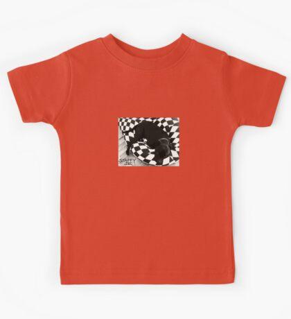 Staffy Dog black on black and white Kids Tee