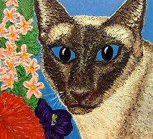 Siamese Cat With Bush Flowers by amanda metalcat dodds