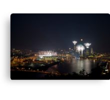 Fireworks, Full Moon and Football in Pittsburgh Canvas Print