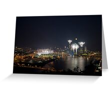 Fireworks, Full Moon and Football in Pittsburgh Greeting Card