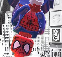 Lego spiderman hanging by steinbock
