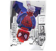 Lego spiderman hanging Poster