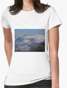 Ingleborough in the snow Womens Fitted T-Shirt