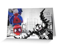 Lego Spiderman vs venom in the city Greeting Card