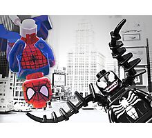 Lego Spiderman vs venom in the city Photographic Print