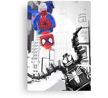 Lego Spiderman vs. Venom in the city (vert) Canvas Print