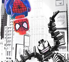 Lego Spiderman vs. venom in the city (with border) by steinbock