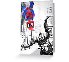 Lego Spiderman vs. venom in the city (with border) Greeting Card