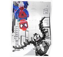 Lego Spiderman vs. venom in the city (with border) Poster