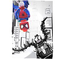 Lego Spiderman vs. venom in the city (with border) Photographic Print