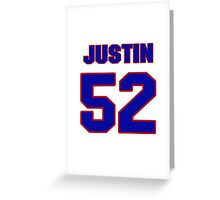 National football player Justin Ena jersey 52 Greeting Card