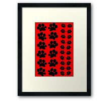 Paw Prints on Red Framed Print