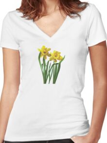 Daffodils At Attention Women's Fitted V-Neck T-Shirt