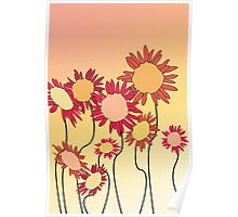 Red Hot Sunflowers Poster