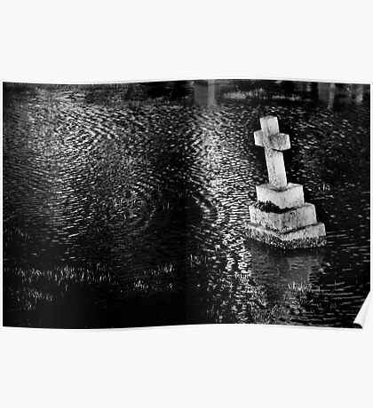 Flooded Graveyard - Southern England Febuary 2014 Poster