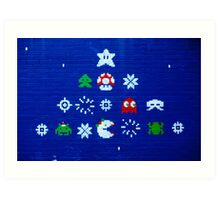 8-bit Christmas Tree Graffiti  Art Print
