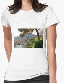 View of Fontvieille Harbor from Saint-Martin Gardens, Monaco Womens Fitted T-Shirt