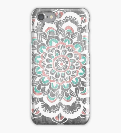 Pastel Floral Medallion on Faded Silver Wood iPhone Case/Skin
