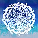 White Floral Medallion on Indigo & Turquoise Watercolor by Tangerine-Tane