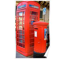 red letter box and phone box Poster
