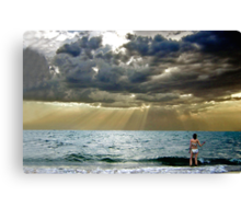 Bikini girl at dusk Canvas Print