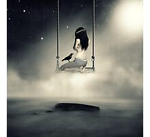 sureal/conceptual scenery of young girl on swing  Photographic Print