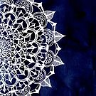 White Lace Medallion on Ink Blue by Tangerine-Tane