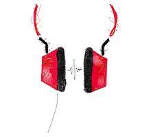 Listen! Red headphones Photographic Print
