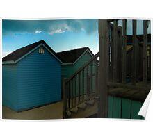 beach huts in bournemouth dorset  Poster