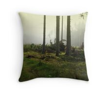 Fog in the forest in Sunrise (My forest) Throw Pillow