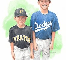 Brothers in baseball watercolor by Mike Theuer