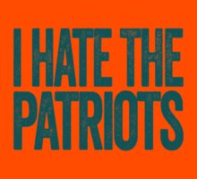 I Hate The Patriots - Miami Dolphins T-Shirt - Show Your Team Spirit - Teal Text Design - Haters Gonna Hate by BeefShirts