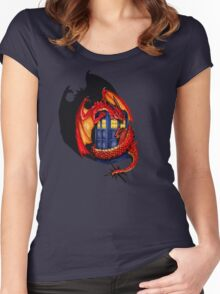 Blue phone box with Smaug The Red wyvern dragon Women's Fitted Scoop T-Shirt